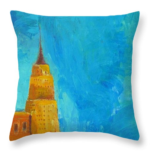 Abstract Cityscape Throw Pillow featuring the painting The Empire State by Habib Ayat