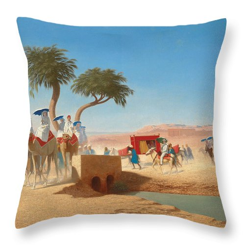 Blue Throw Pillow featuring the painting The Empress Eugenie Visiting The Pyramids by Charles Theodore Frere