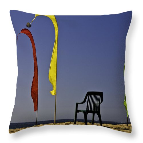 Beach Throw Pillow featuring the photograph The empty chair by Sheila Smart Fine Art Photography