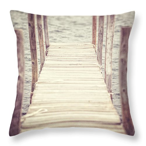 Nautical Throw Pillow featuring the photograph The Empty Dock by Lisa Russo