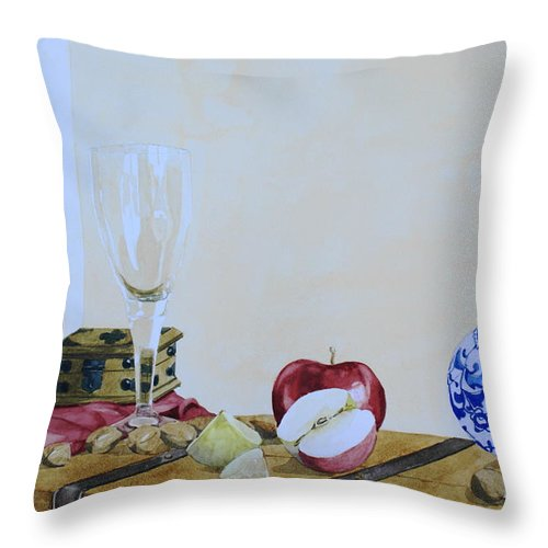 Still Life Throw Pillow featuring the painting The Empty Glass by Frank Hamilton