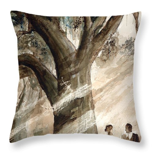 People Throw Pillow featuring the painting The Encounter by Arline Wagner