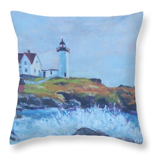 Coastal Throw Pillow featuring the painting The End Of Summer- Cape Neddick Maine by Alicia Drakiotes