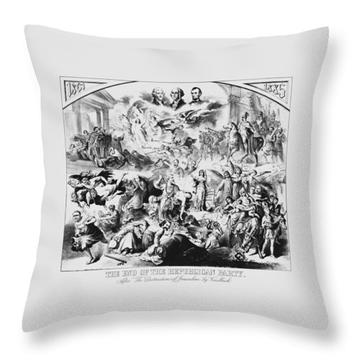 George Washington Throw Pillow featuring the mixed media The End Of The Republican Party by War Is Hell Store