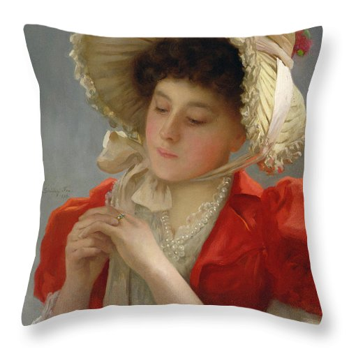 The Engagement Ring Throw Pillow featuring the painting The Engagement Ring by John Shirley Fox
