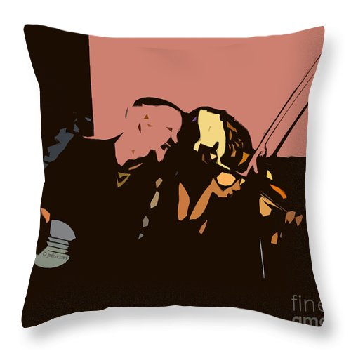 Musicians Throw Pillow featuring the digital art The Entertainers by Jacqueline Milner