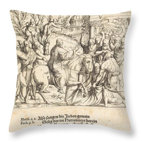 Throw Pillow featuring the drawing The Entry Into Jerusalem by Augustin Hirschvogel
