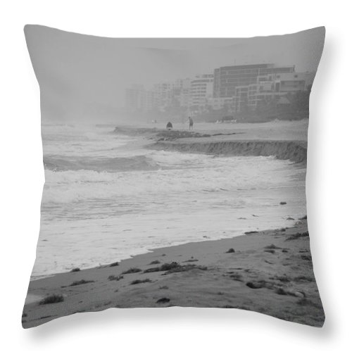 Black And White Throw Pillow featuring the photograph The Eroded Coast by Rob Hans