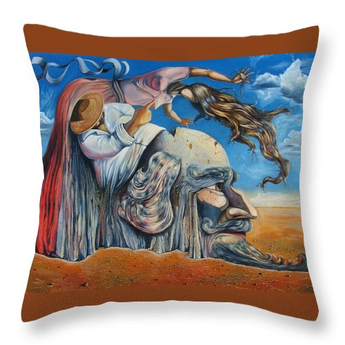 Surrealism Throw Pillow featuring the painting The Eternal Obsession Of Don Quijote by Darwin Leon