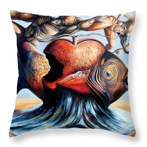 Surrealism Throw Pillow featuring the painting The Eternal Question Of Time by Darwin Leon