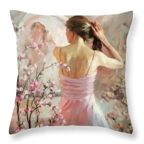 Woman Throw Pillow featuring the painting The Evening Ahead by Steve Henderson
