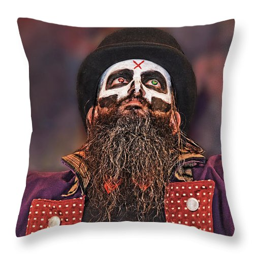 Evil Wrestling Manager Throw Pillow featuring the photograph The Evil Wrestling Genius The Cold One Ac by Jim Fitzpatrick