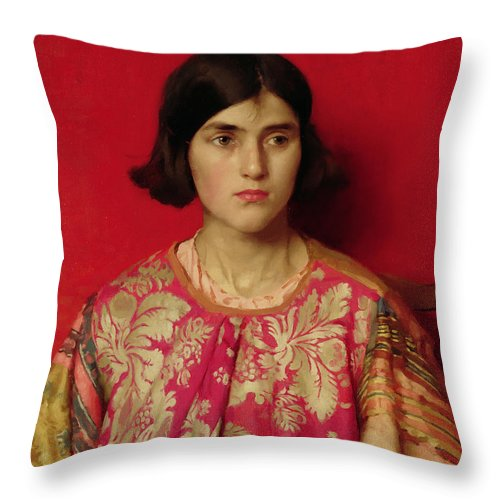 The Throw Pillow featuring the painting The Exile - Heavy Is The Price I Paid For Love by Thomas Cooper Gotch