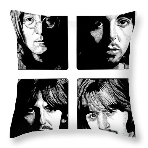 Paul Mccartney Throw Pillow featuring the drawing The Fab Four by Cory Still