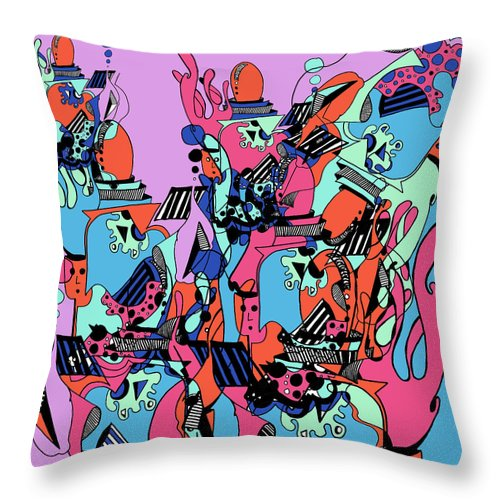 Throw Pillow featuring the digital art The Factory by Kenneth Greene