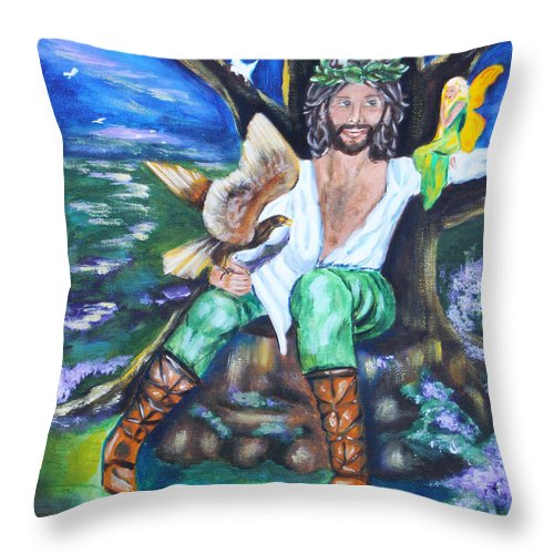 Faery Throw Pillow featuring the painting The Faery King by Diana Haronis