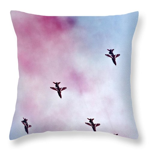 Red Arrows Throw Pillow featuring the photograph The Falcons Rain by Angel Ciesniarska
