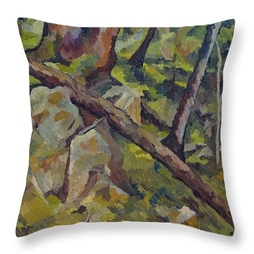 Impressionism Throw Pillow featuring the painting The Fallen Tree by Don Perino
