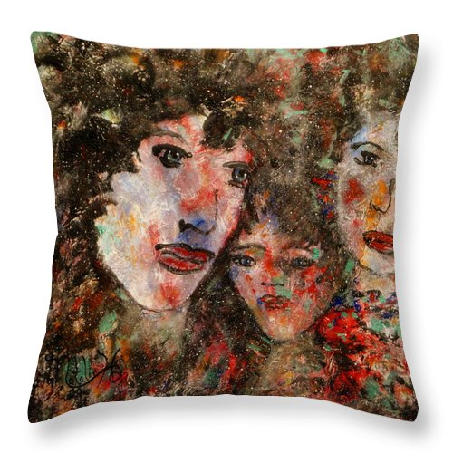 Family Throw Pillow featuring the painting The Family That Plays Together Stays Together by Natalie Holland