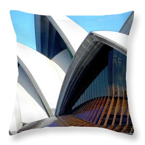 Sydney Throw Pillow featuring the photograph The Famous Jaws of the Sydney Opera House by Kirsten Giving
