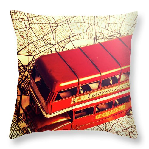 Travel Throw Pillow featuring the photograph The Famous Red Bus by Jorgo Photography - Wall Art Gallery
