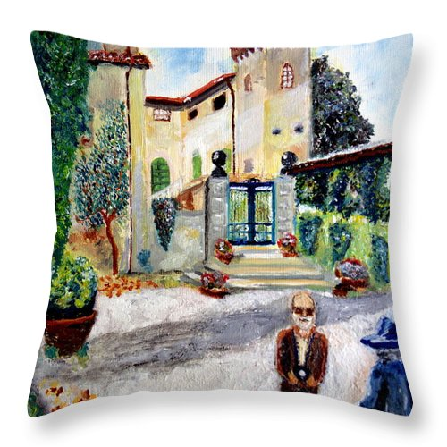Nature Throw Pillow featuring the painting The Farm In Montelopio -pisa by Daniele Fedi
