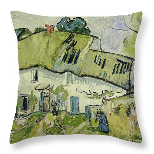 The Farm In Summer Throw Pillow featuring the painting The Farm In Summer by Vincent van Gogh
