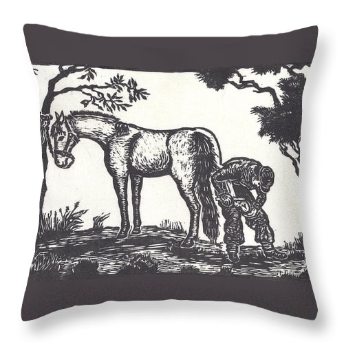 Horse Throw Pillow featuring the drawing The Farrier Trims Geronimo by Dawn Senior-Trask