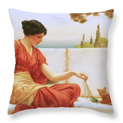 The Favourite Throw Pillow featuring the painting The Favourite by John William Godward