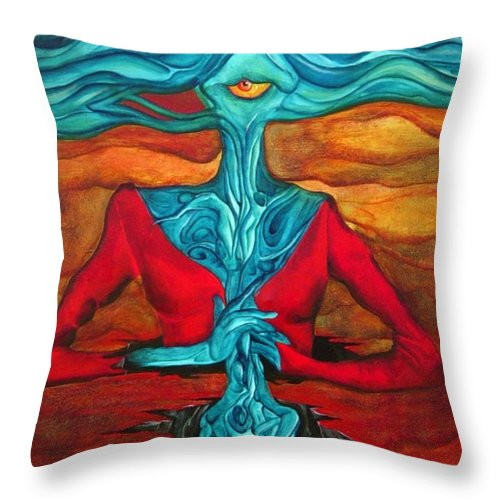 Feast Woman Blue Eye Eat Red Earth Throw Pillow featuring the painting The Feast by Veronica Jackson
