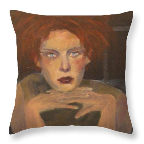 Portrait Throw Pillow featuring the painting The Female Gaze by Connie Freid
