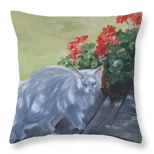 Cat Throw Pillow featuring the painting A Feral Cloud by Connie Schaertl