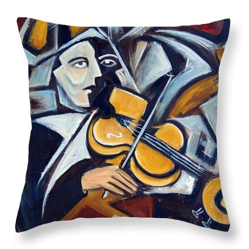 Musician Throw Pillow featuring the painting The Fiddler by Valerie Vescovi