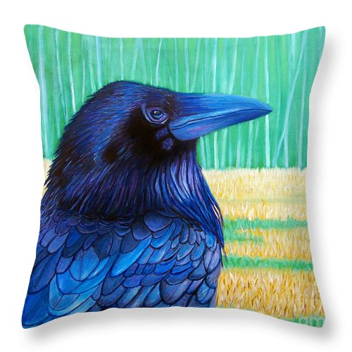 Raven Throw Pillow featuring the painting The Field Of Dreams by Brian Commerford