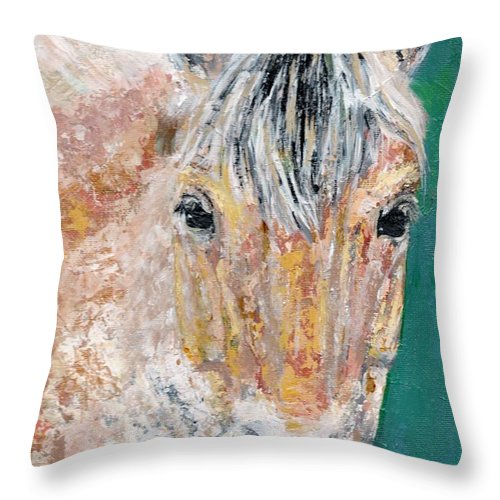 Fijord Horse Throw Pillow featuring the painting The Fijord by Frances Marino
