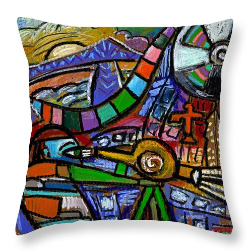 Bridge Throw Pillow featuring the painting The Film Maker by Angelina Marino