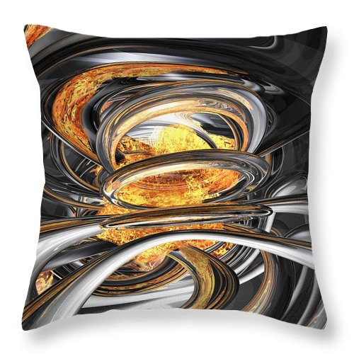 3d Throw Pillow featuring the digital art The Fire Within Abstract by Alexander Butler