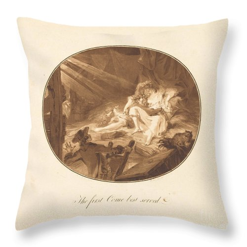 Throw Pillow featuring the drawing The First Come Best Served by Antoine-fran?ois Sergent After Augustin De Saint-aubin