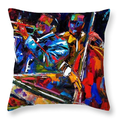 Jazz Throw Pillow featuring the painting The First Set by Debra Hurd