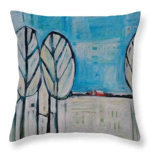 Snow Throw Pillow featuring the painting The First Snow by Tim Nyberg