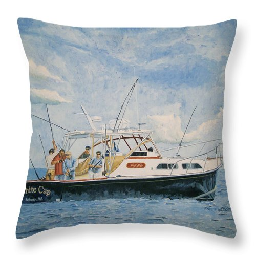 Fishing Throw Pillow featuring the painting The Fishing Charter - Cape Cod Bay by Dominic White