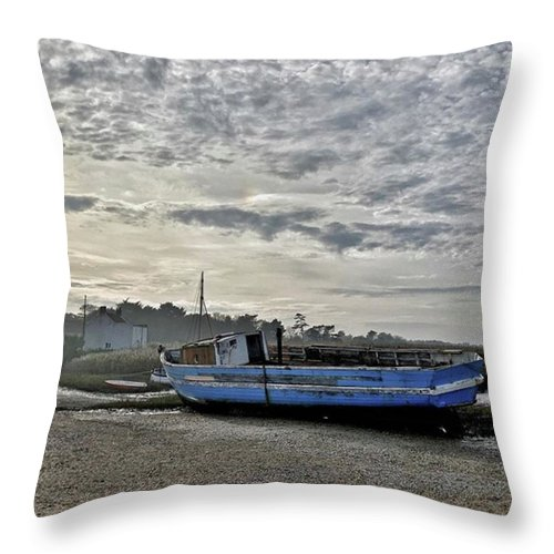 Beautiful Throw Pillow featuring the photograph The Fixer-upper, Brancaster Staithe by John Edwards