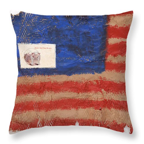 Flag Throw Pillow featuring the mixed media The Flag by Jaime Becker