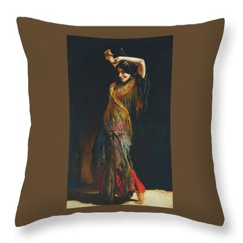Leopold Schmutzler (austrian Throw Pillow featuring the painting The Flamenco Dancer by MotionAge Designs