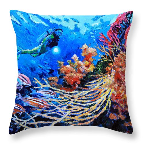 Scuba Diver Throw Pillow featuring the painting The Flow of Creation by John Lautermilch
