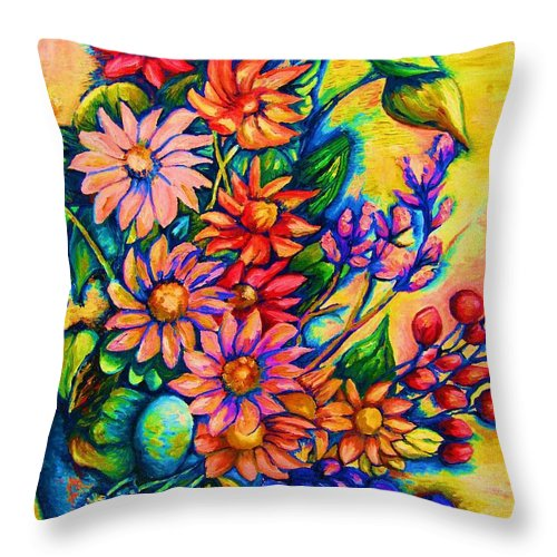 Beautiful Flowers.floral Bouquet Throw Pillow featuring the painting The Flower Dance by Carole Spandau