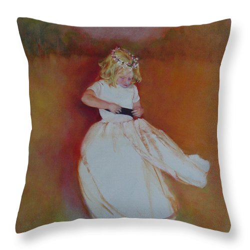 Contemporary Portrait Throw Pillow featuring the painting The Flower Girl Copyrighted by Kathleen Hoekstra