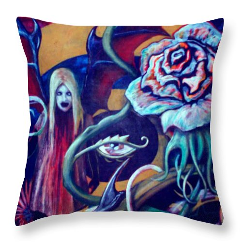 Surreal Throw Pillow featuring the painting The Flower That Is Life by Will Le Beouf
