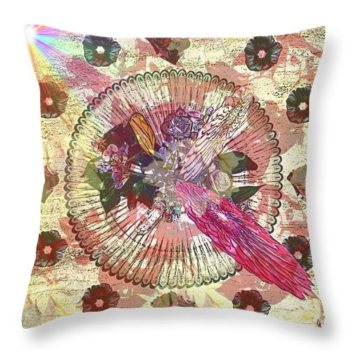 Flowers Throw Pillow featuring the digital art The Flowerclock by Helmut Rottler
