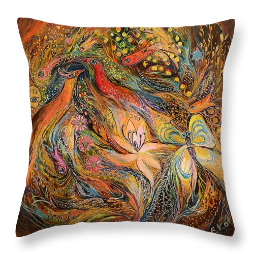 Original Throw Pillow featuring the painting The Fluids Of Love by Elena Kotliarker